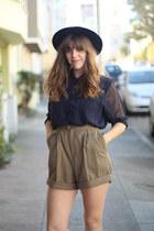 camel vintage shorts - navy vintage hat - navy sheer vintage blouse