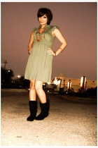 green unknown dress - black Soda boots