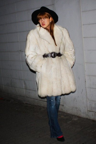 white fur vintage coat