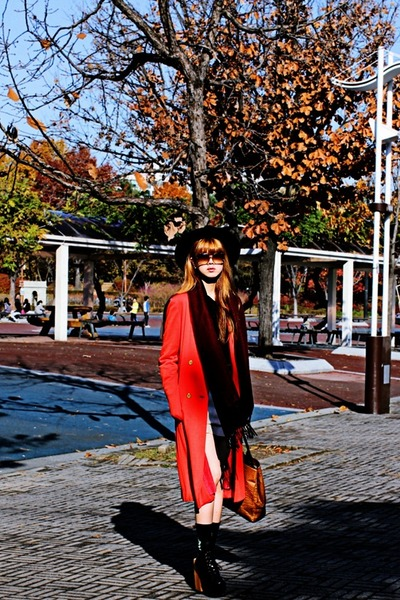 black Kristines Collection top - red vintage coat