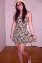 yellow vintage dress - white Charlotte Russe shoes - beige vintage hat - black U