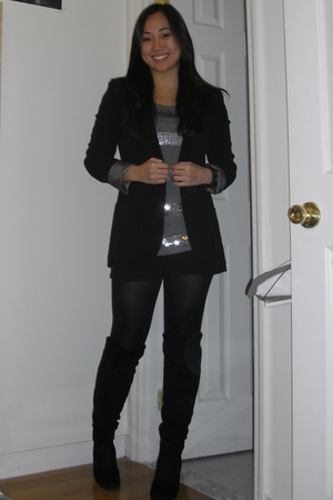 silver H&M shirt - black Forever 21 shorts - black American Apparel tights - bla