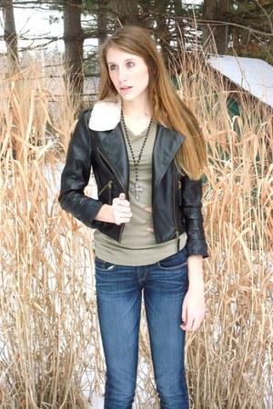 black Forever 21 jacket - army green Forever 21 shirt - silver cross Forever 21