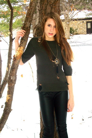green Forever 21 sweater - black leather H&M leggings - gold tassel Forever 21 n
