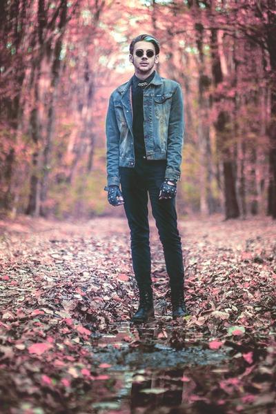 black H&M boots - black H&M jeans - teal Diesel jacket - black H&M shirt