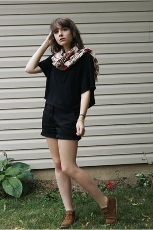 black Divided shirt - black shorts - beige H&amp;M scarf - brown Bronks shoes