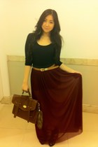 maxi skirt Forever 21 skirt - H&M bag - cotton on blouse - Aldo accessories