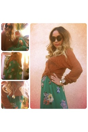 green chiffon Vintage Renewals skirt - tawny knit Forever 21 sweater
