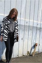 white Diane Von Furstenberg sweater - black thrifted sweater - black BDG jeans -