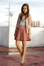 salmon pleated Paint Me Colourful skirt - white stripes H&M dress