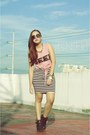 Salmon-gifi-clothing-top-black-stripes-h-m-skirt