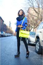 blue mesh Karmaloop sweater - black corduroy Uniqlo leggings