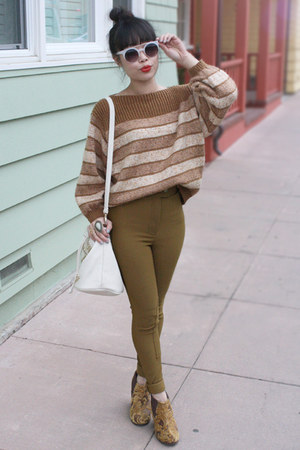 dark khaki American Apparel pants - mustard Jeffrey Campbell boots
