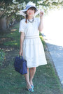 White-zalo-shoes-white-ark-co-dress-white-striped-hat-wet-seal-hat