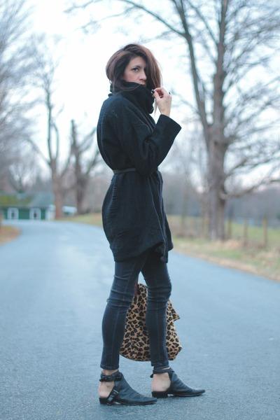 black PERSUNMALL boots - black Gap jeans - black vintage sweater