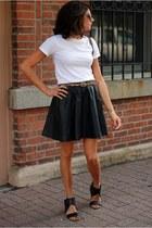 black faux leather H&M skirt - white Hanes t-shirt - black Nine West sandals