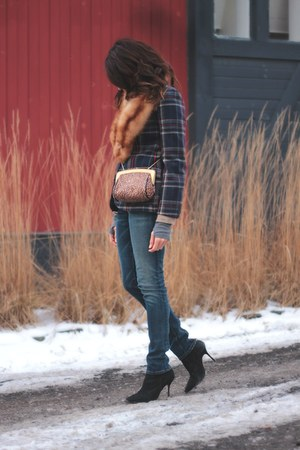 leopard print jess rizzuti bag - Current Elliot jeans - plaid vintage blazer