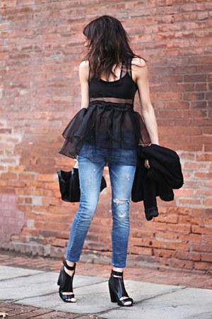 black Sheinside top - black Kelsi Dagger shoes
