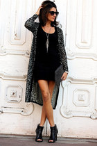 f21 cardigan - black banana republic dress - black BCBG heels