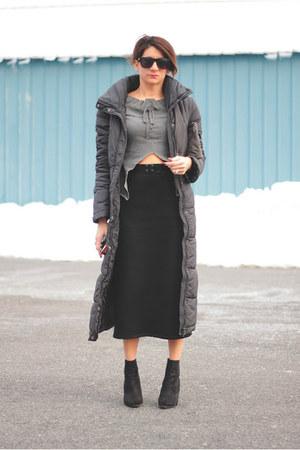 black Kurt Geiger boots - dark gray H&M coat - charcoal gray Diesel shirt