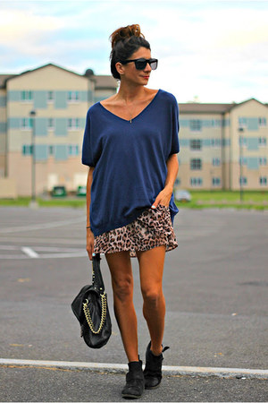 navy vince sweater - leopard print dress