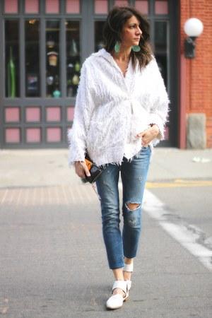 white vintage jacket - white asos flats