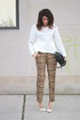 Vintage-bag-leopard-banana-republic-pants-white-bonded-asos-sweatshirt