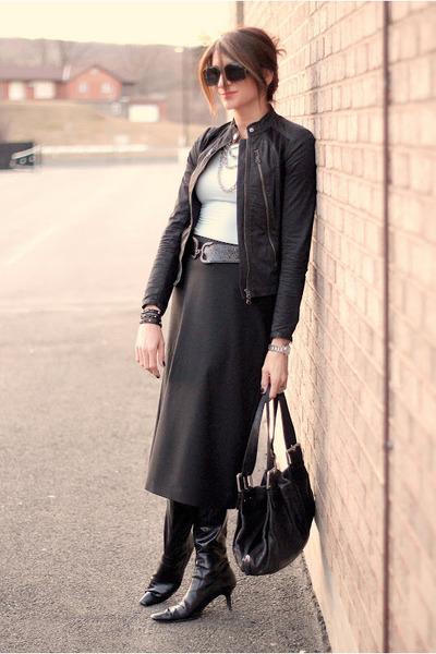 black skirt - black jacket - light blue shirt