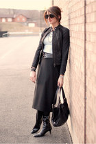 black skirt - black jacket - light blue shirt