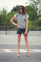heather gray sweatshirt asos top - black leather diy shorts
