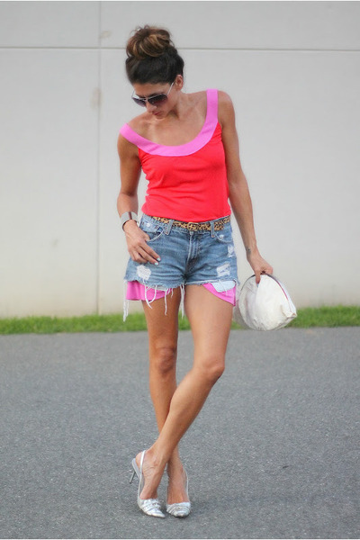 bubble gum Diane Von Furstenburg dress - Levis shorts