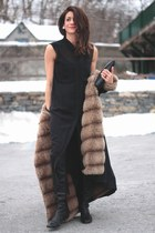 fur lined vintage coat - black Alexander Wang dress