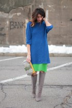 blue H&M sweater - heather gray brian atwood boots - jess rizzuti bag