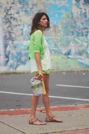 chartreuse f21 shorts - chartreuse banana republic cardigan