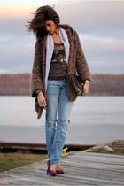 deep purple BCBG heels - periwinkle Urban Outfitters jacket