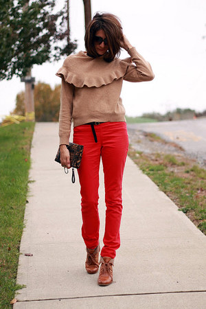 red H&M pants - H&M boots - camel vintage sweater