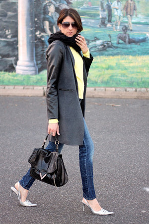 gray f21 jacket - light yellow f21 shirt - silver tano heels