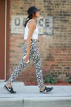 white H&M top - white dalmatian print H&M pants