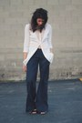 White-shirt-navy-donna-karen-pants