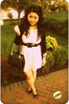 peach H&M dress - black kate spade bag - cream kate spade necklace