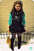mustard kate spade bag - teal lurex Alice & Olivia cardigan - black bubble Forev