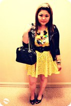 black motorcycle Forever 21 jacket - yellow printed H&M dress