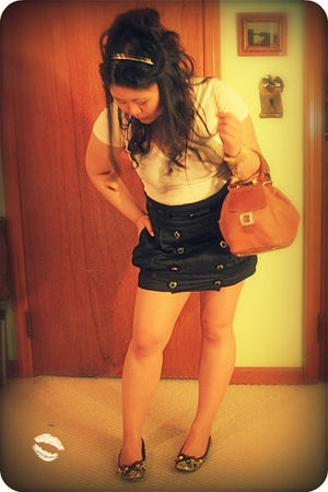 white Express shirt - black Forever21 skirt - brown kate spade accessories - gol