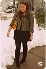 Black-otk-suede-nine-west-boots-forest-green-kate-spade-jacket-mustard-kate-