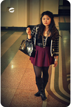 black Kimchi&Blue blazer - black JCrew top - pink Theory skirt - black Steve Mad