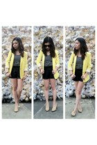 yellow Zara blazer - navy striped H&M shirt