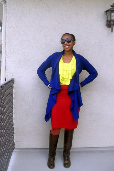 dark brown leather Ralph Lauren boots - navy crochet Old Navy sweater - yellow r