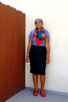 red floral print Perry Ellis scarf - black striped shirt - black pencil skirt