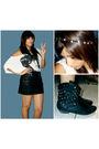White-forever-21-blouse-black-max-rave-skirt-black-forever-21-boots-black-