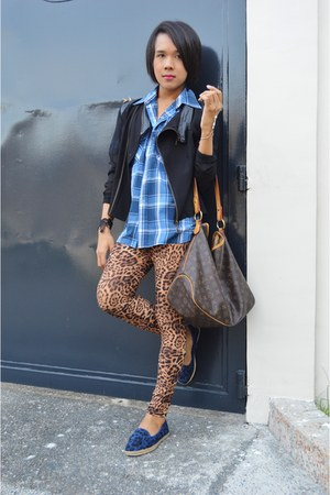 plaid CPS top - leopard loafers Step Rite shoes - studded biker Tomato jacket